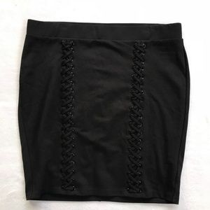 2677b119b5 torrid Skirts | Lace Up Ponte Mini Skirt Black | Poshmark